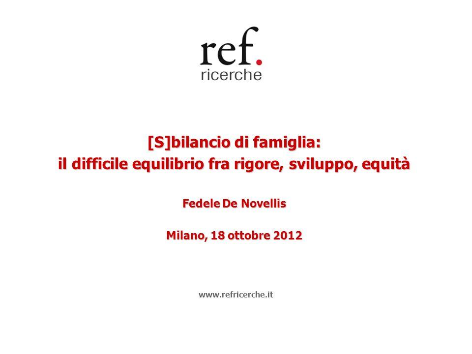 [S]bilancio di famiglia: il difficile equilibrio fra rigore, sviluppo, equità Fedele De Novellis Milano, 18 ottobre 2012 www.refricerche.it