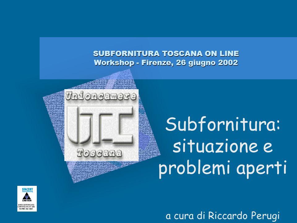 SUBFORNITURA TOSCANA ON LINE Workshop - Firenze, 26 giugno 2002 Subfornitura: situazione e problemi aperti a cura di Riccardo Perugi