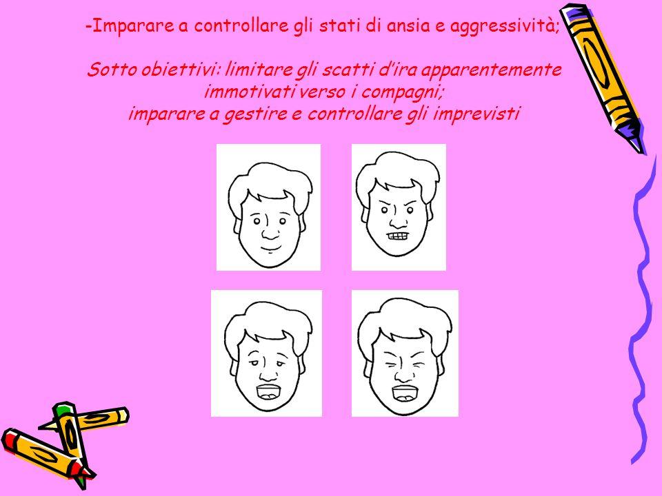 -Imparare a controllare gli stati di ansia e aggressività; Sotto obiettivi: limitare gli scatti dira apparentemente immotivati verso i compagni; impar