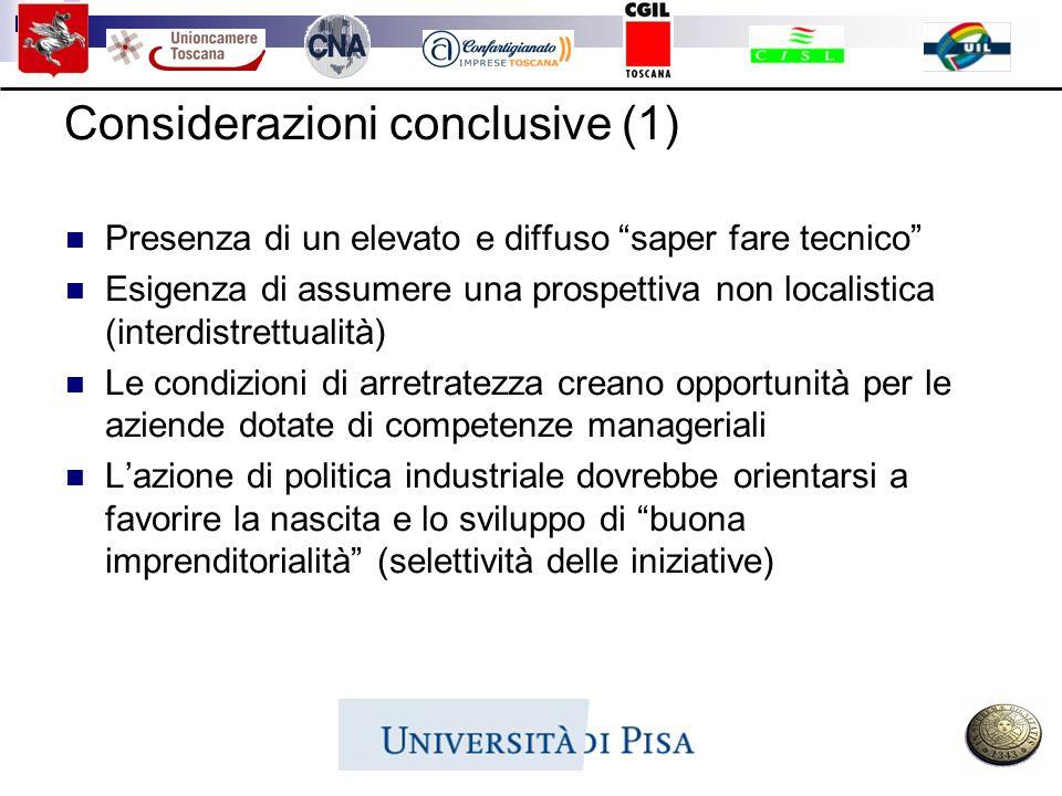 Considerazioni conclusive (1) Presenza di un elevato e diffuso saper fare tecnico Esigenza di assumere una prospettiva non localistica (interdistrettu