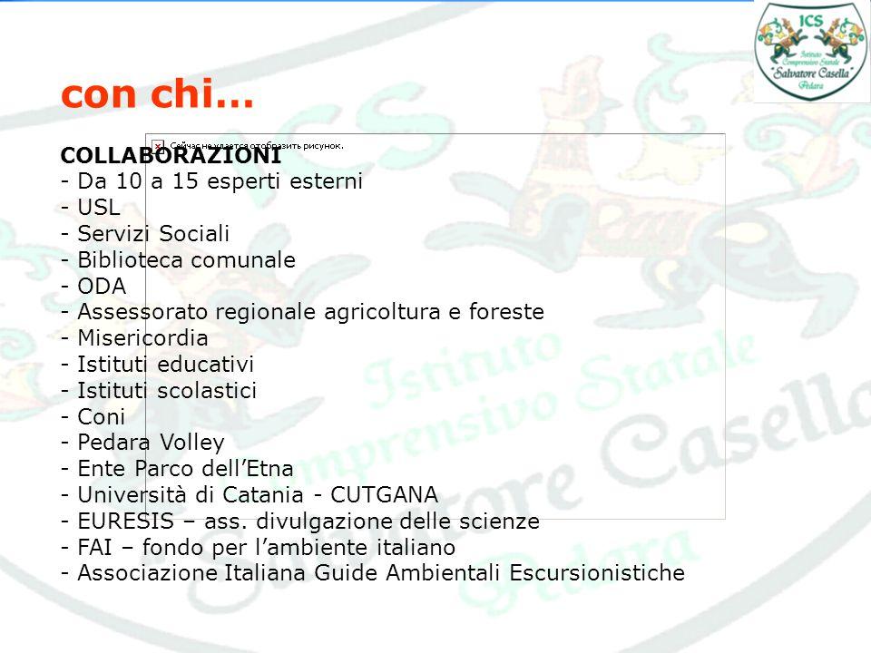con chi… COLLABORAZIONI - Da 10 a 15 esperti esterni - USL - Servizi Sociali - Biblioteca comunale - ODA - Assessorato regionale agricoltura e foreste - Misericordia - Istituti educativi - Istituti scolastici - Coni - Pedara Volley - Ente Parco dellEtna - Università di Catania - CUTGANA - EURESIS – ass.