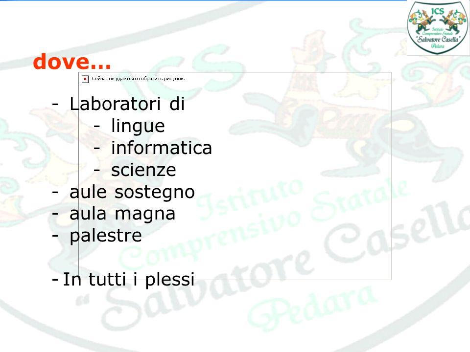 dove… - Laboratori di - lingue - informatica - scienze - aule sostegno - aula magna - palestre -In tutti i plessi
