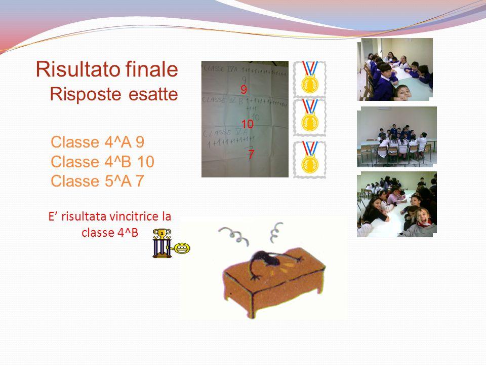 Classe 4^A 9 Classe 4^B 10 Classe 5^A 7 Risultato finale Risposte esatte E risultata vincitrice la classe 4^B 9 10 7