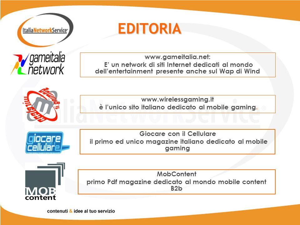 EDITORIA www.gameitalia.net: E un network di siti Internet dedicati al mondo dellentertainment presente anche sul Wap di Wind www.wirelessgaming.it è lunico sito italiano dedicato al mobile gaming.