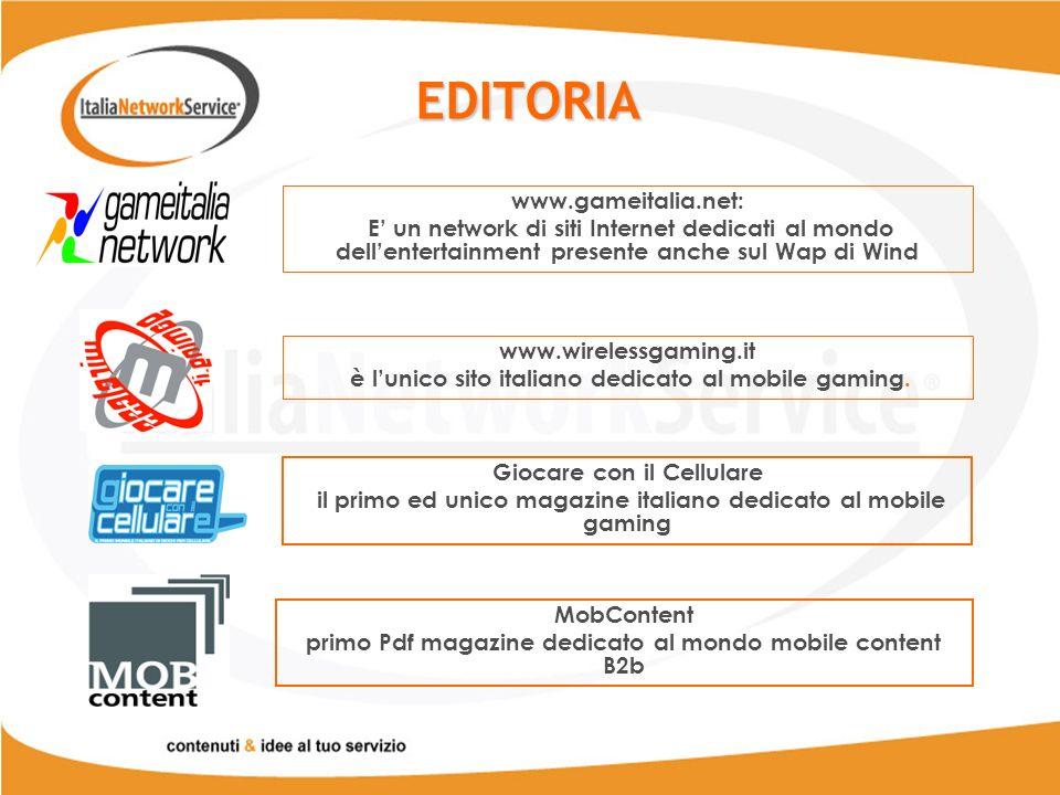 EDITORIA www.gameitalia.net: E un network di siti Internet dedicati al mondo dellentertainment presente anche sul Wap di Wind www.wirelessgaming.it è