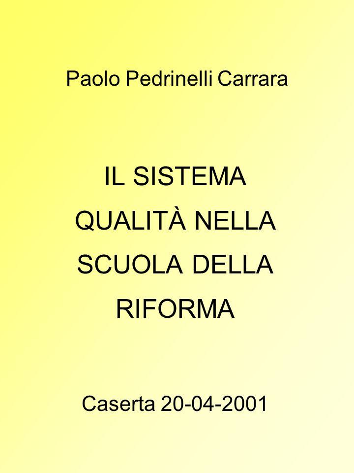 Paolo Pedrinelli Carrara IL SISTEMA QUALITÀ NELLA SCUOLA DELLA RIFORMA Caserta 20-04-2001