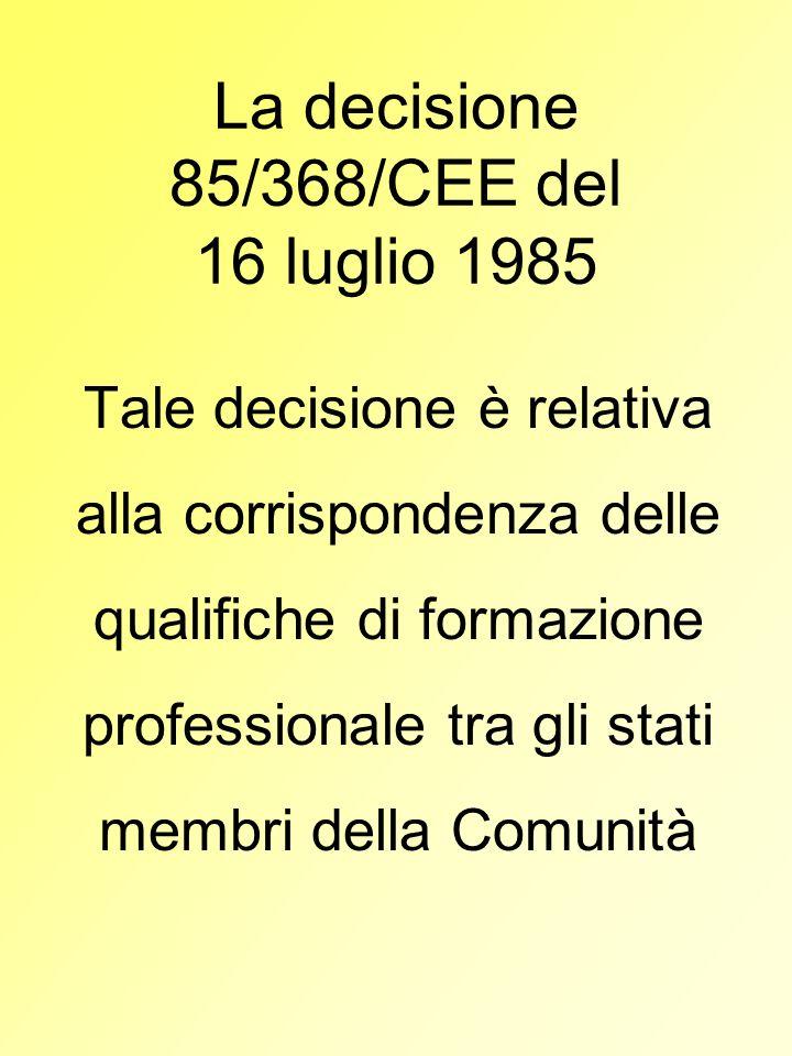 La decisione 85/368/CEE del 16 luglio 1985 Tale decisione è relativa alla corrispondenza delle qualifiche di formazione professionale tra gli stati me