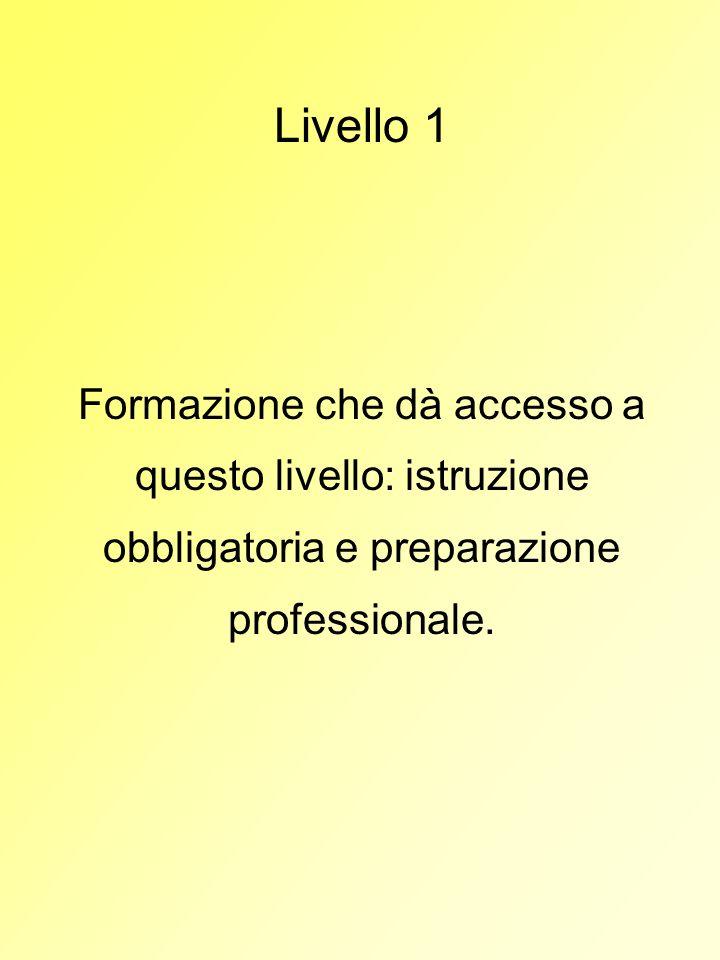 Livello 1 Formazione che dà accesso a questo livello: istruzione obbligatoria e preparazione professionale.