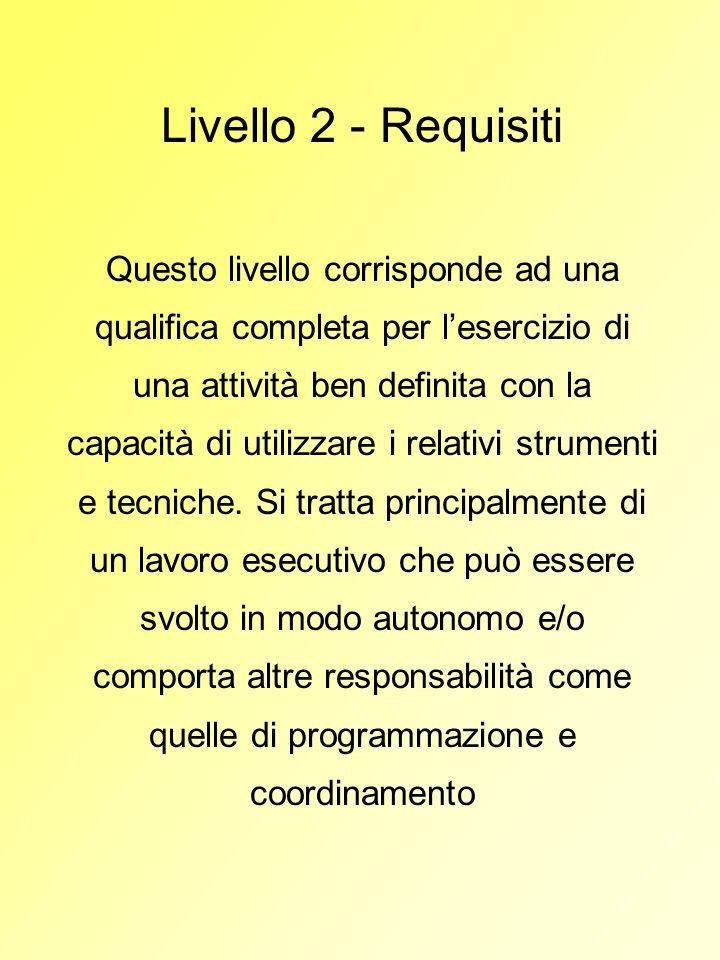 Livello 2 - Requisiti Questo livello corrisponde ad una qualifica completa per lesercizio di una attività ben definita con la capacità di utilizzare i