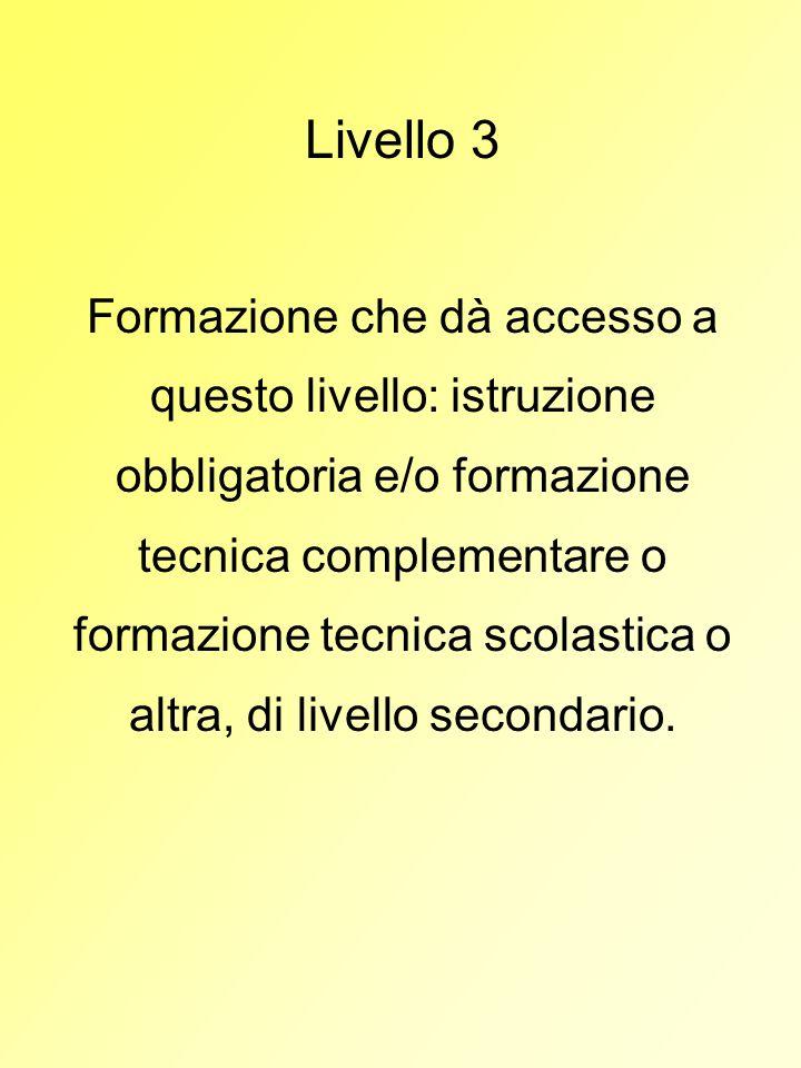 Livello 3 Formazione che dà accesso a questo livello: istruzione obbligatoria e/o formazione tecnica complementare o formazione tecnica scolastica o a