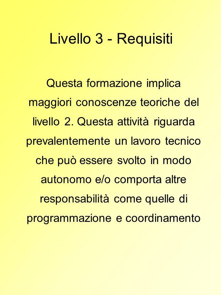 Livello 3 - Requisiti Questa formazione implica maggiori conoscenze teoriche del livello 2. Questa attività riguarda prevalentemente un lavoro tecnico