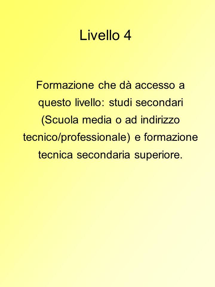 Livello 4 Formazione che dà accesso a questo livello: studi secondari (Scuola media o ad indirizzo tecnico/professionale) e formazione tecnica seconda
