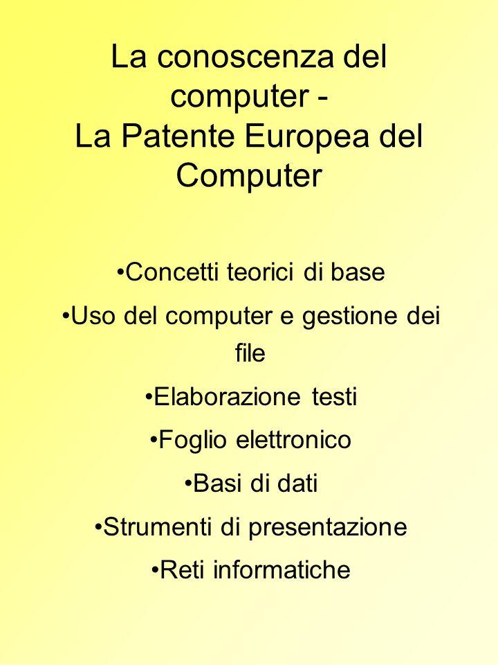 La conoscenza del computer - La Patente Europea del Computer Concetti teorici di base Uso del computer e gestione dei file Elaborazione testi Foglio e