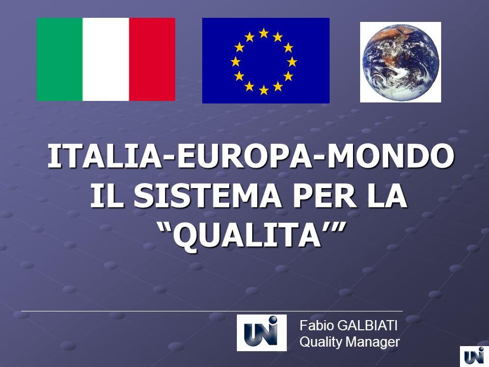 ITALIA-EUROPA-MONDO IL SISTEMA PER LA IL SISTEMA PER LA QUALITA QUALITA Fabio GALBIATI Quality Manager
