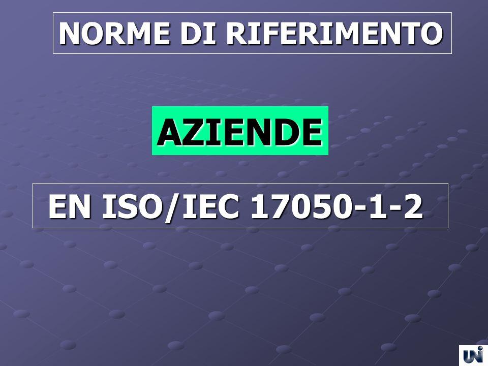 NORME DI RIFERIMENTO AZIENDE EN ISO/IEC 17050-1-2 EN ISO/IEC 17050-1-2