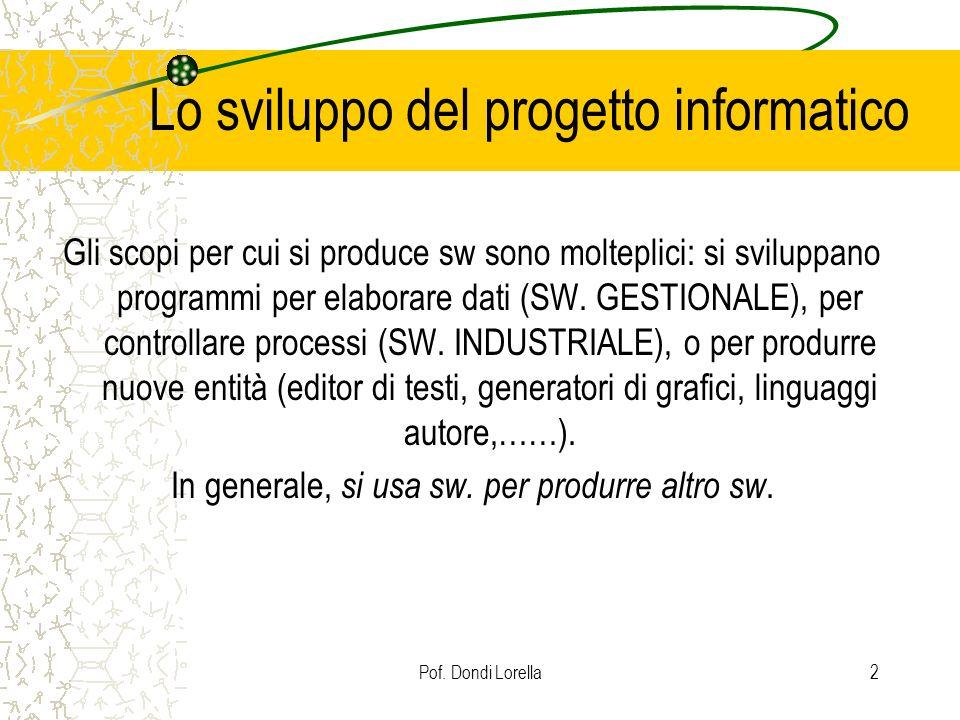 Pof. Dondi Lorella2 Lo sviluppo del progetto informatico Gli scopi per cui si produce sw sono molteplici: si sviluppano programmi per elaborare dati (