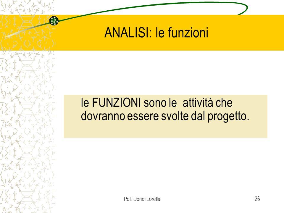 Pof. Dondi Lorella26 ANALISI: le funzioni le FUNZIONI sono le attività che dovranno essere svolte dal progetto.
