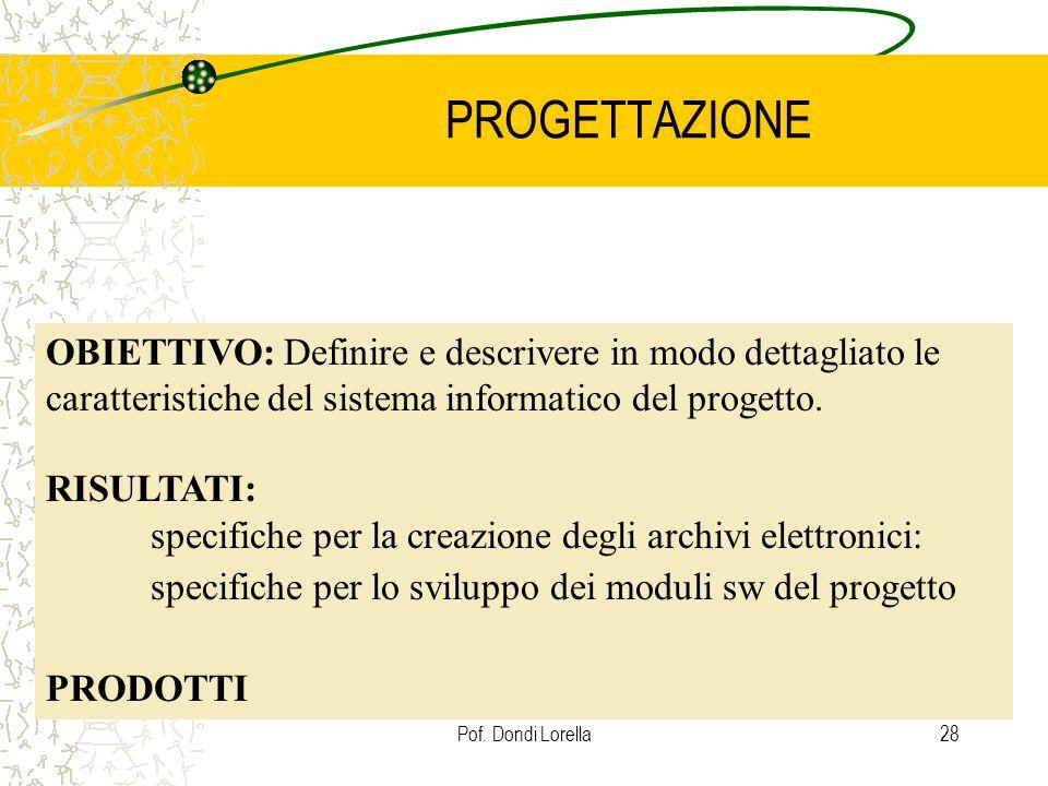 Pof. Dondi Lorella28 PROGETTAZIONE OBIETTIVO: Definire e descrivere in modo dettagliato le caratteristiche del sistema informatico del progetto. RISUL