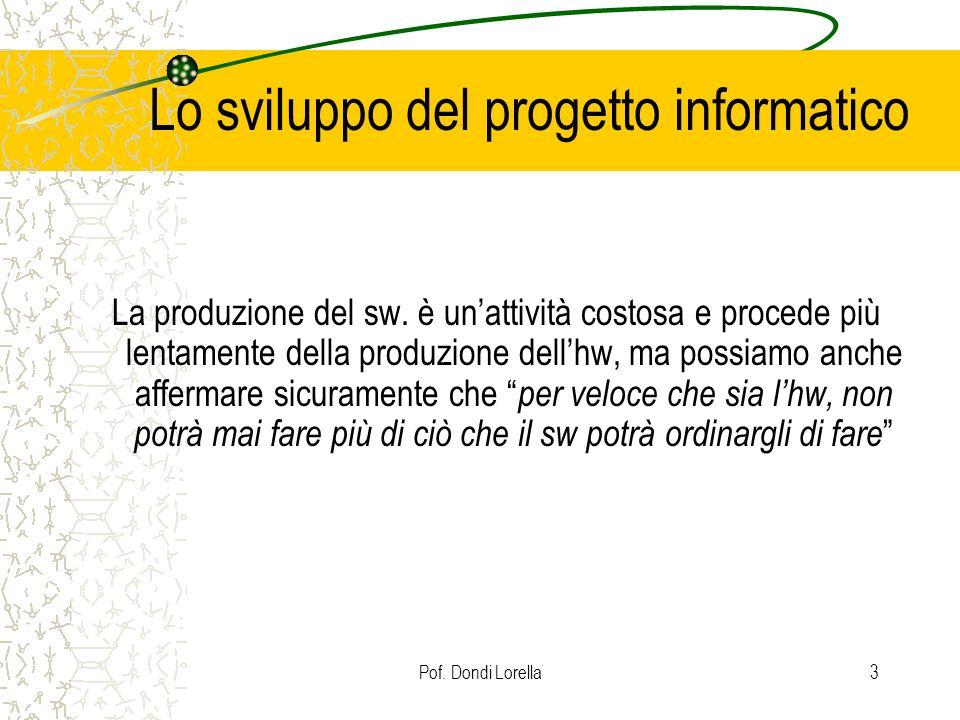 Pof. Dondi Lorella3 Lo sviluppo del progetto informatico La produzione del sw. è unattività costosa e procede più lentamente della produzione dellhw,