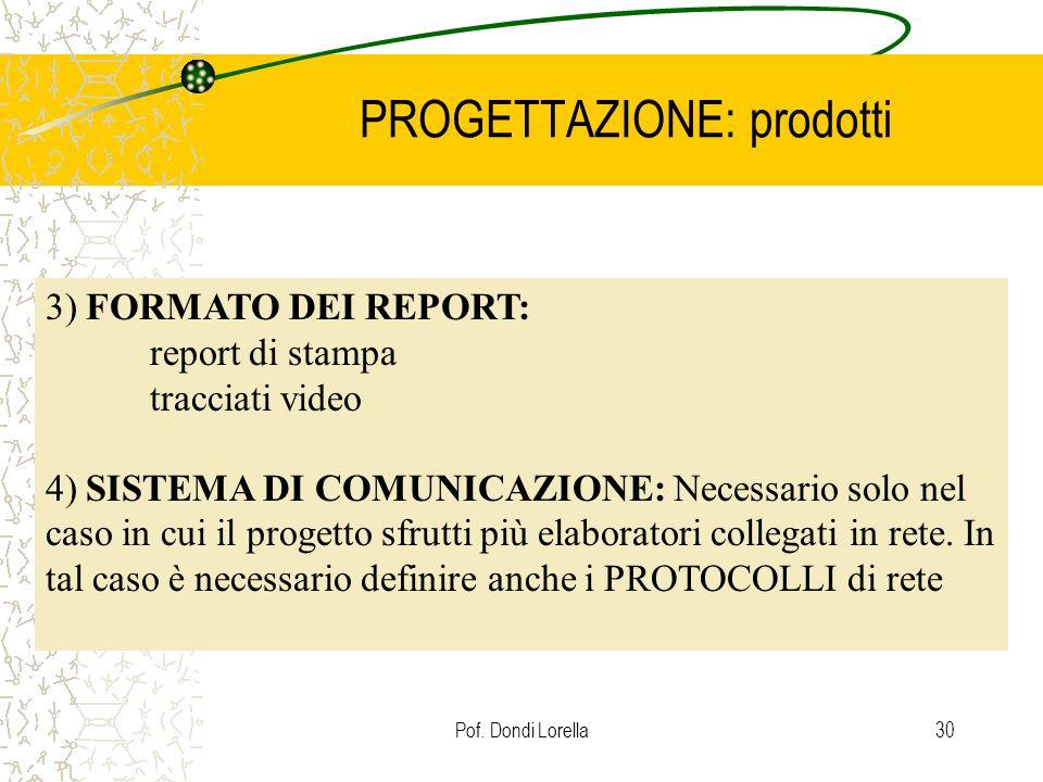 Pof. Dondi Lorella30 PROGETTAZIONE: prodotti 3) FORMATO DEI REPORT: report di stampa tracciati video 4) SISTEMA DI COMUNICAZIONE: Necessario solo nel