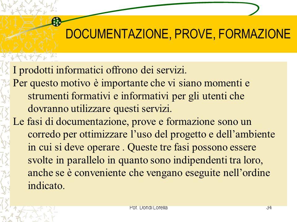 Pof. Dondi Lorella34 DOCUMENTAZIONE, PROVE, FORMAZIONE I prodotti informatici offrono dei servizi. Per questo motivo è importante che vi siano momenti