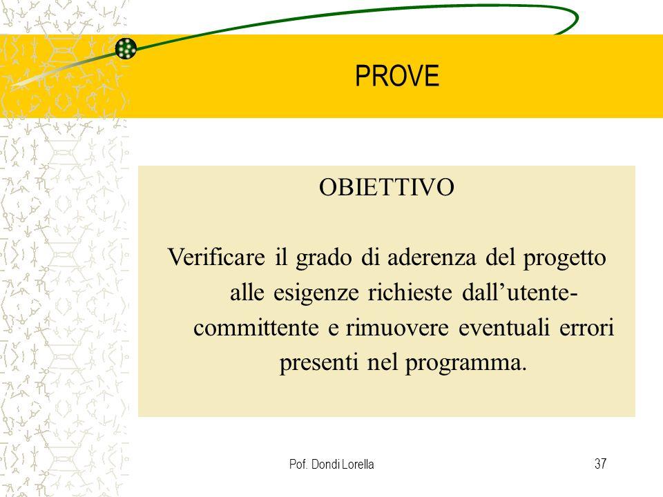 Pof. Dondi Lorella37 PROVE OBIETTIVO Verificare il grado di aderenza del progetto alle esigenze richieste dallutente- committente e rimuovere eventual