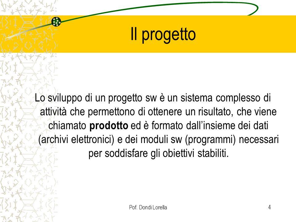 Pof. Dondi Lorella4 Il progetto Lo sviluppo di un progetto sw è un sistema complesso di attività che permettono di ottenere un risultato, che viene ch