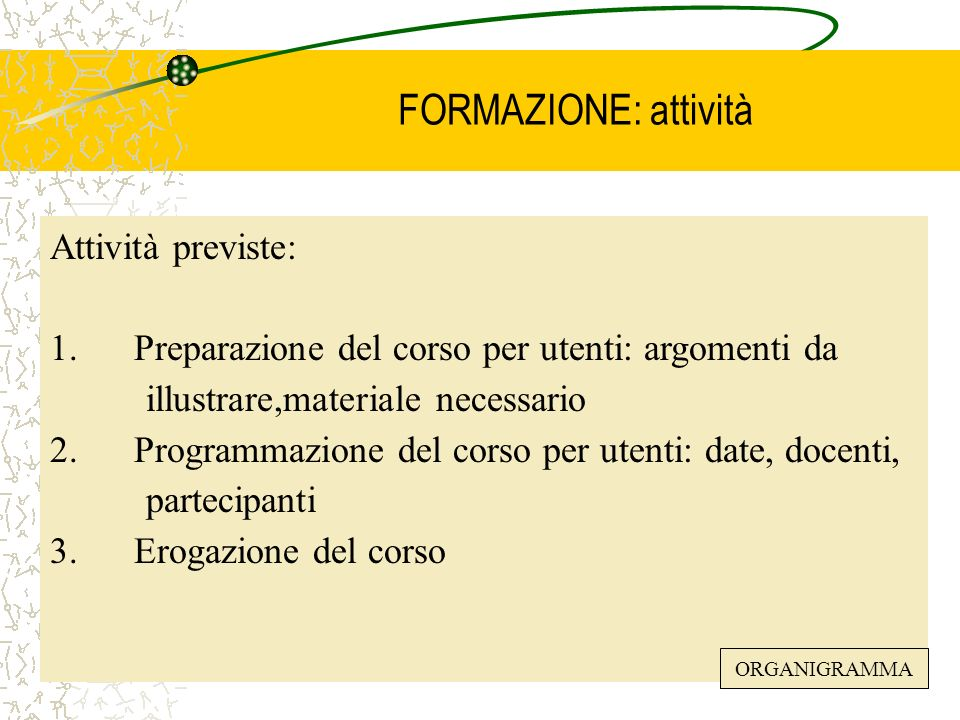 Pof. Dondi Lorella42 FORMAZIONE: attività Attività previste: 1. Preparazione del corso per utenti: argomenti da illustrare,materiale necessario 2. Pro