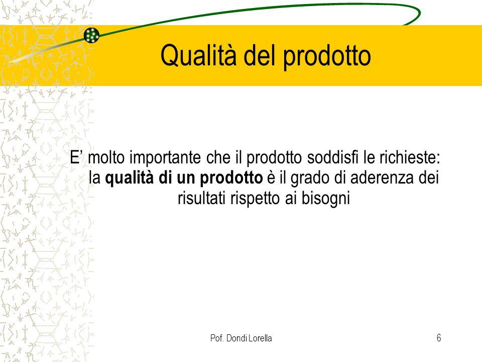 Pof. Dondi Lorella6 Qualità del prodotto E molto importante che il prodotto soddisfi le richieste: la qualità di un prodotto è il grado di aderenza de