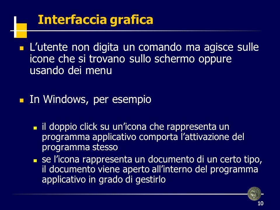 10 Interfaccia grafica Lutente non digita un comando ma agisce sulle icone che si trovano sullo schermo oppure usando dei menu In Windows, per esempio