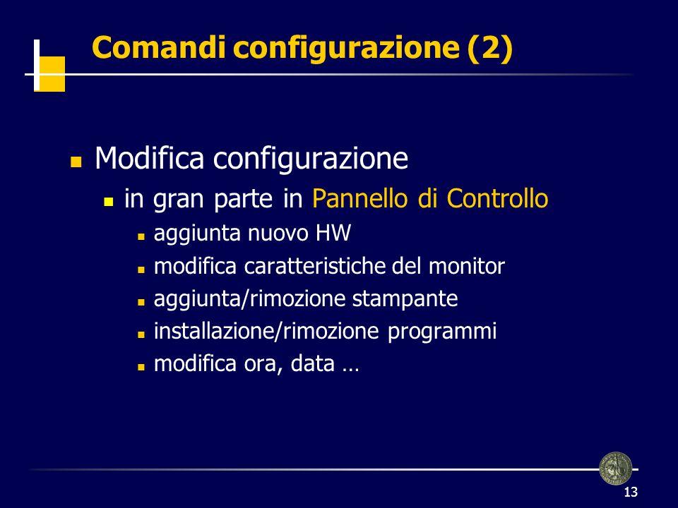 13 Comandi configurazione (2) Modifica configurazione in gran parte in Pannello di Controllo aggiunta nuovo HW modifica caratteristiche del monitor aggiunta/rimozione stampante installazione/rimozione programmi modifica ora, data …