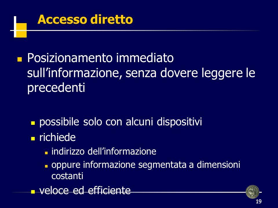 19 Accesso diretto Posizionamento immediato sullinformazione, senza dovere leggere le precedenti possibile solo con alcuni dispositivi richiede indiri