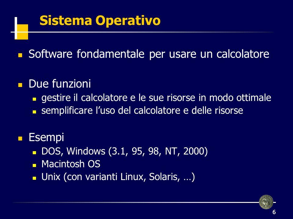 6 Sistema Operativo Software fondamentale per usare un calcolatore Due funzioni gestire il calcolatore e le sue risorse in modo ottimale semplificare