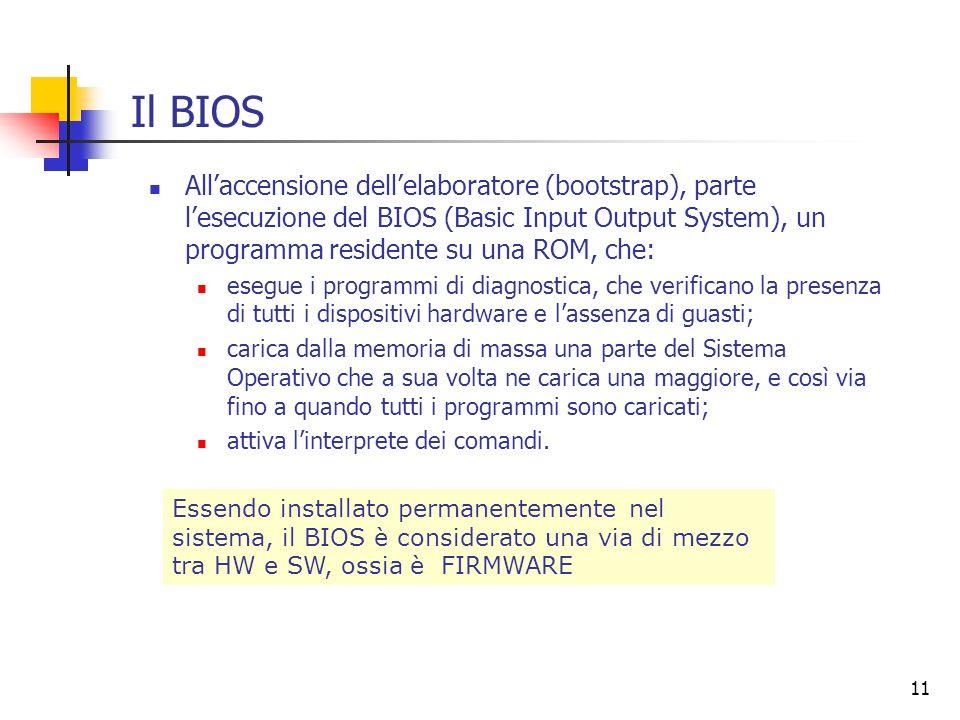 11 Il BIOS Allaccensione dellelaboratore (bootstrap), parte lesecuzione del BIOS (Basic Input Output System), un programma residente su una ROM, che: