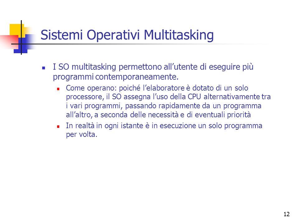 12 Sistemi Operativi Multitasking I SO multitasking permettono allutente di eseguire più programmi contemporaneamente. Come operano: poiché lelaborato