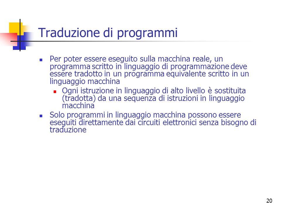 20 Traduzione di programmi Per poter essere eseguito sulla macchina reale, un programma scritto in linguaggio di programmazione deve essere tradotto i
