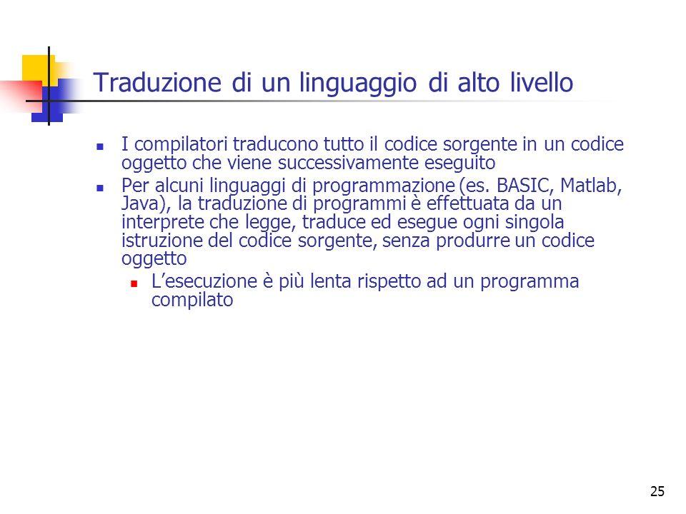25 Traduzione di un linguaggio di alto livello I compilatori traducono tutto il codice sorgente in un codice oggetto che viene successivamente eseguit