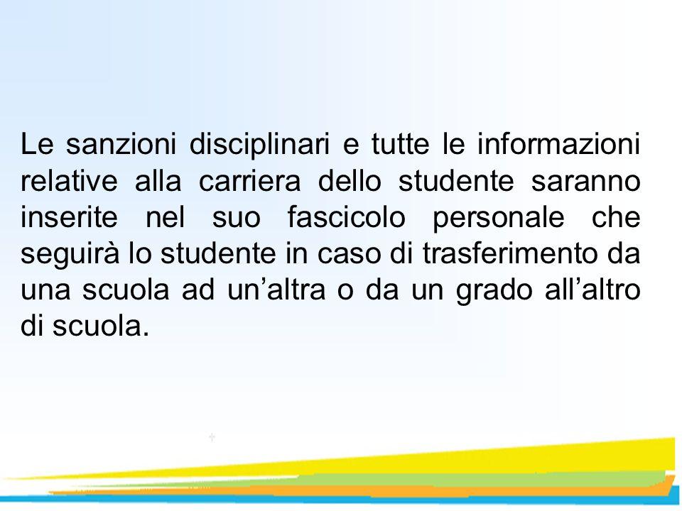 Le sanzioni disciplinari e tutte le informazioni relative alla carriera dello studente saranno inserite nel suo fascicolo personale che seguirà lo stu