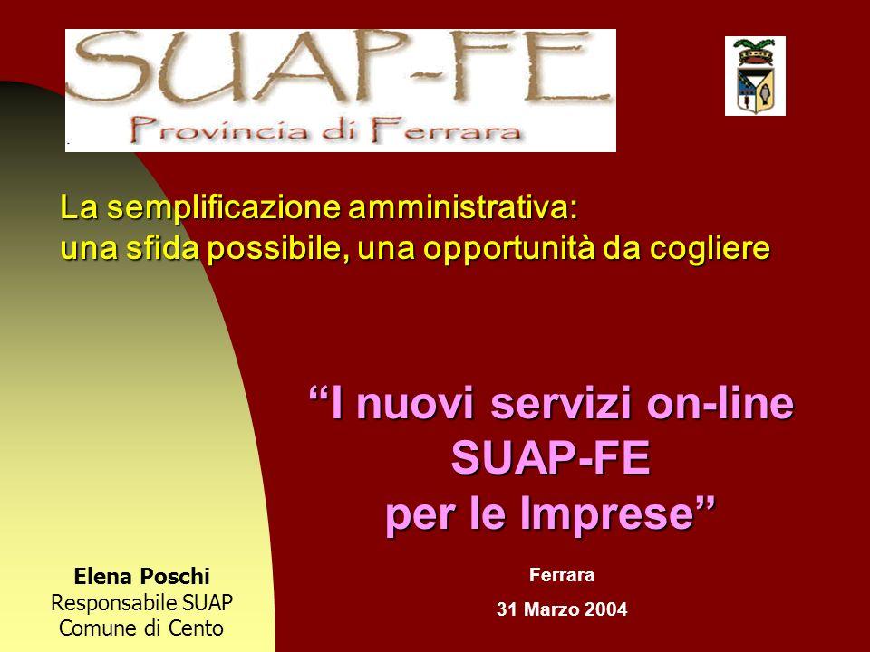 La semplificazione amministrativa: una sfida possibile, una opportunità da cogliere I nuovi servizi on-line SUAP-FE per le Imprese Elena Poschi Respon