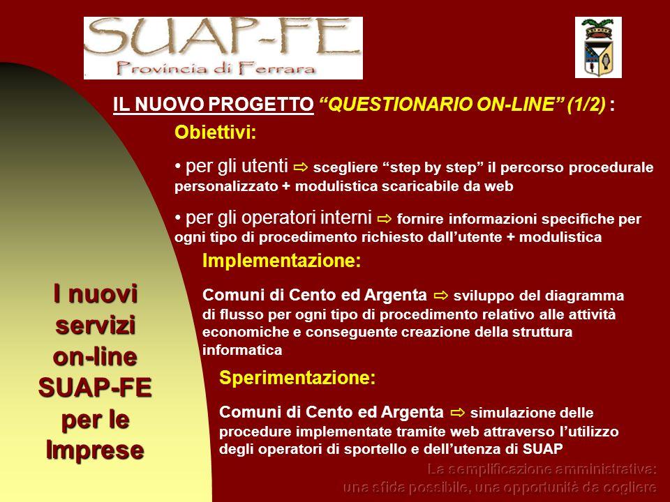 I nuovi servizi on-line SUAP-FE per le Imprese IL NUOVO PROGETTO QUESTIONARIO ON-LINE (1/2) : Obiettivi: per gli utenti scegliere step by step il perc