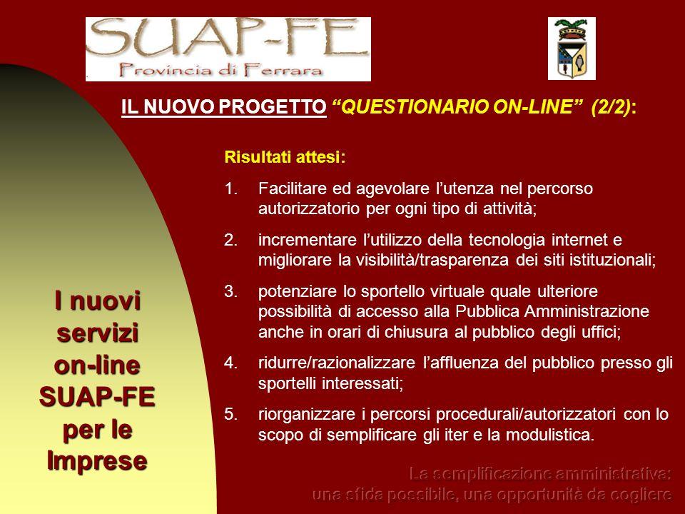 I nuovi servizi on-line SUAP-FE per le Imprese Risultati attesi: 1.Facilitare ed agevolare lutenza nel percorso autorizzatorio per ogni tipo di attivi
