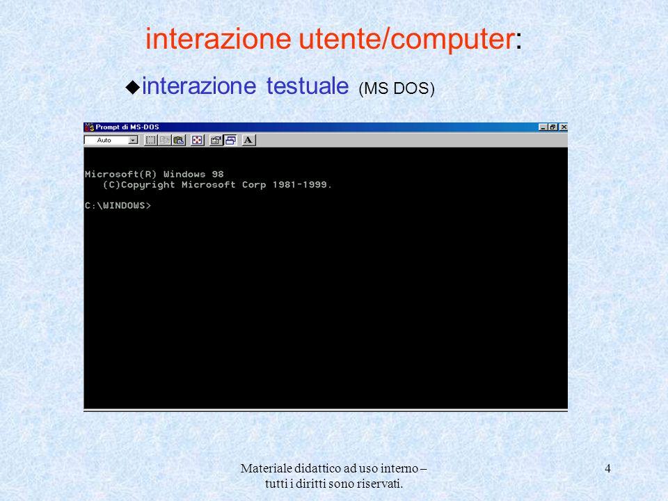Materiale didattico ad uso interno – tutti i diritti sono riservati. 4 interazione utente/computer: u interazione testuale (MS DOS)