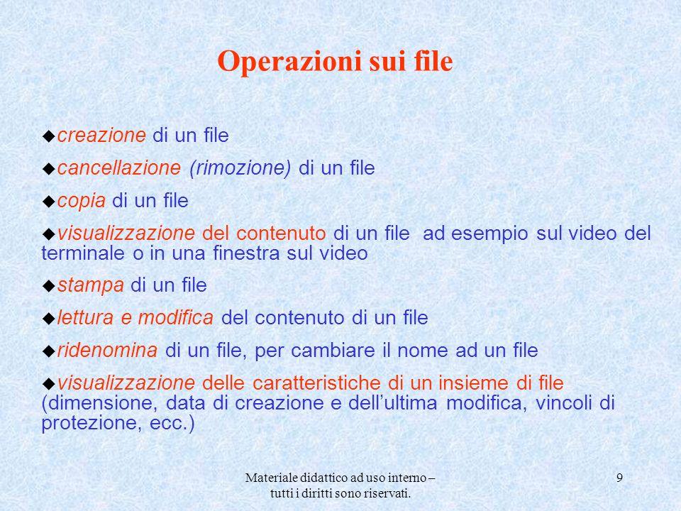Materiale didattico ad uso interno – tutti i diritti sono riservati. 9 Operazioni sui file u creazione di un file u cancellazione (rimozione) di un fi