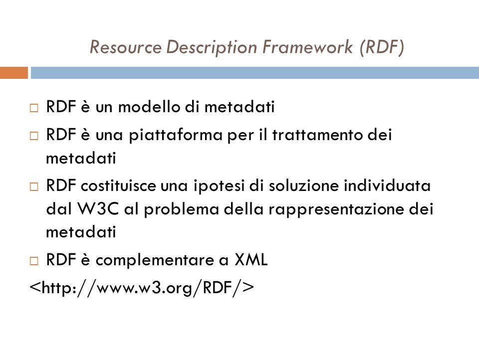 Resource Description Framework (RDF) RDF è un modello di metadati RDF è una piattaforma per il trattamento dei metadati RDF costituisce una ipotesi di soluzione individuata dal W3C al problema della rappresentazione dei metadati RDF è complementare a XML