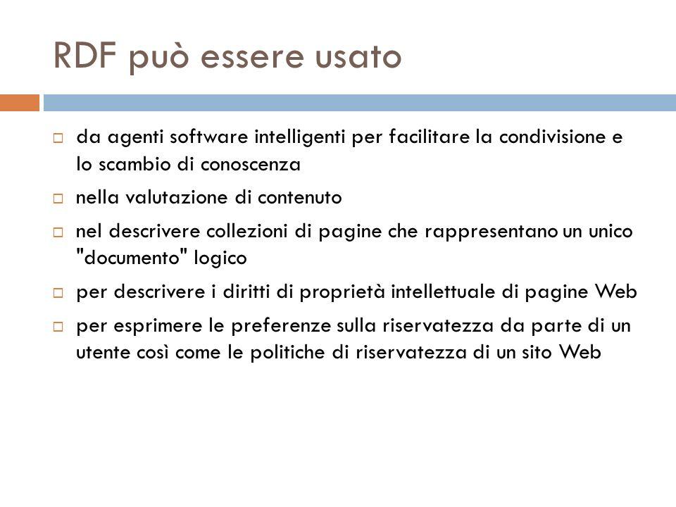 RDF può essere usato da agenti software intelligenti per facilitare la condivisione e lo scambio di conoscenza nella valutazione di contenuto nel descrivere collezioni di pagine che rappresentano un unico documento logico per descrivere i diritti di proprietà intellettuale di pagine Web per esprimere le preferenze sulla riservatezza da parte di un utente così come le politiche di riservatezza di un sito Web