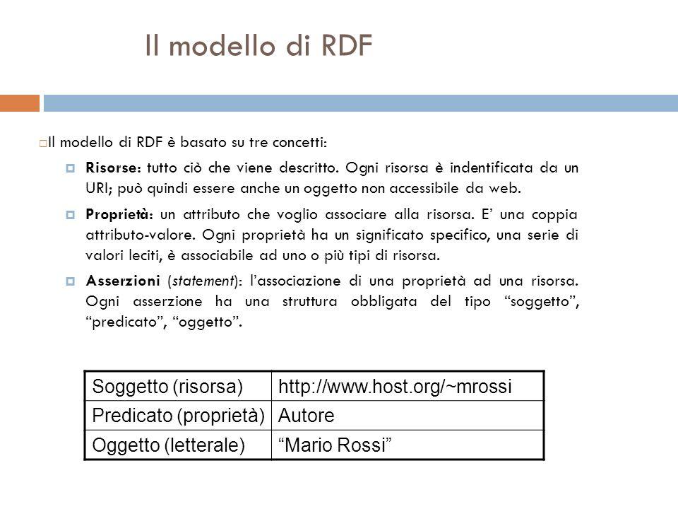 Il modello di RDF Il modello di RDF è basato su tre concetti: Risorse: tutto ciò che viene descritto.