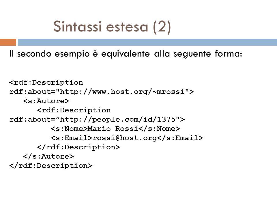 Sintassi estesa (2) Il secondo esempio è equivalente alla seguente forma: Mario Rossi rossi@host.org