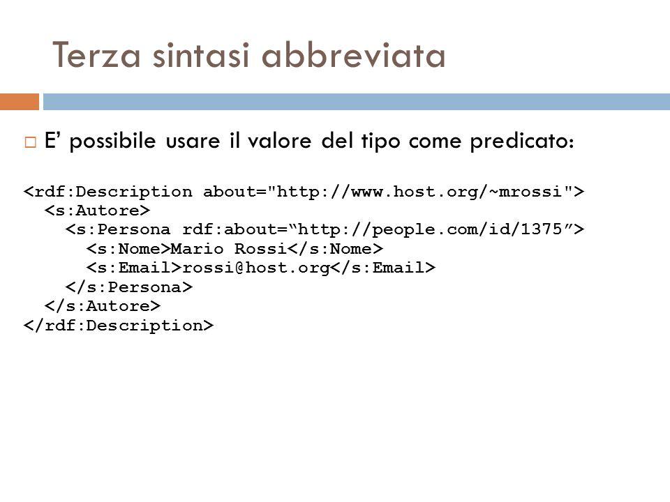 Terza sintasi abbreviata E possibile usare il valore del tipo come predicato: Mario Rossi rossi@host.org