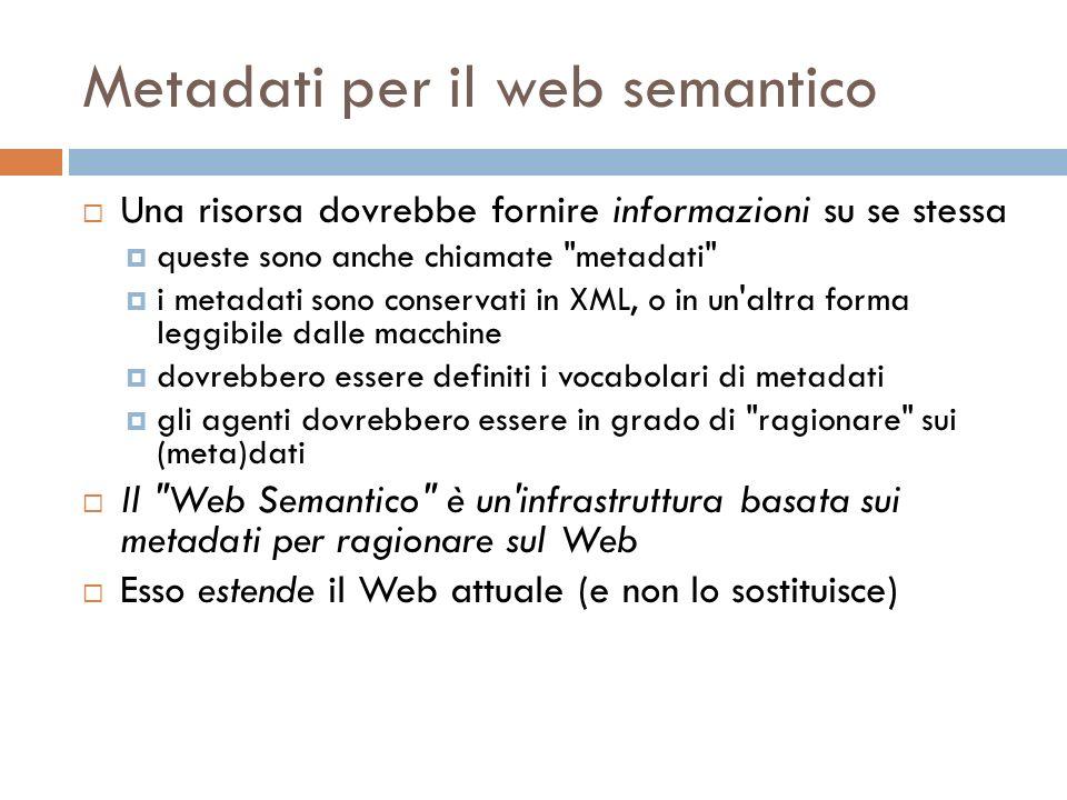 Metadati per il web semantico Una risorsa dovrebbe fornire informazioni su se stessa queste sono anche chiamate metadati i metadati sono conservati in XML, o in un altra forma leggibile dalle macchine dovrebbero essere definiti i vocabolari di metadati gli agenti dovrebbero essere in grado di ragionare sui (meta)dati Il Web Semantico è un infrastruttura basata sui metadati per ragionare sul Web Esso estende il Web attuale (e non lo sostituisce)