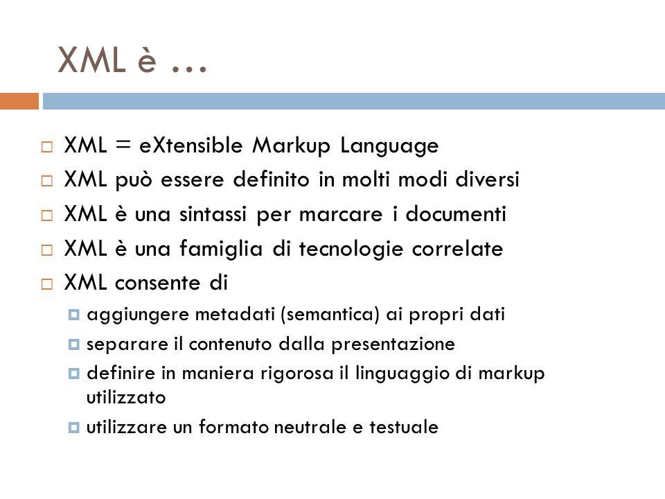 XML è … XML = eXtensible Markup Language XML può essere definito in molti modi diversi XML è una sintassi per marcare i documenti XML è una famiglia di tecnologie correlate XML consente di aggiungere metadati (semantica) ai propri dati separare il contenuto dalla presentazione definire in maniera rigorosa il linguaggio di markup utilizzato utilizzare un formato neutrale e testuale